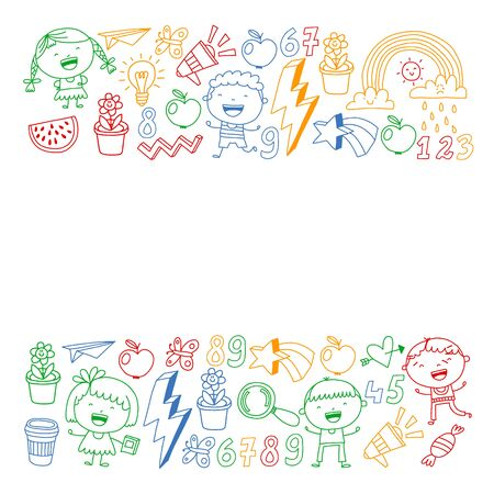 Cute little children play. Kindergarten, education, sport. Icons of kids and toys for patterns, banners, posters Stock Illustratie
