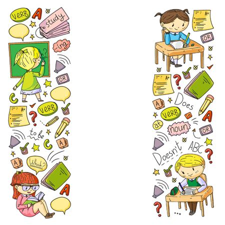 English school for children. Learn language. Education vector illustration. Kids drawing doodle style image Ilustracja