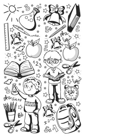 Back to School. Vector pattern with icons and children.