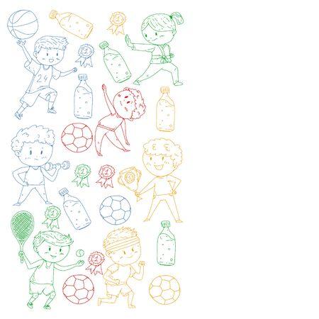 Children and sport. Vector illustration of activities. Football, soccer, running, dancing, martial arts. Health care in school and kindergarten. 向量圖像