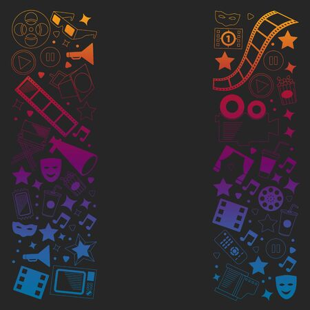 Vector pattern with cinema icons. Movie Theater, TV, popcorn, video clips, musical Vektoros illusztráció