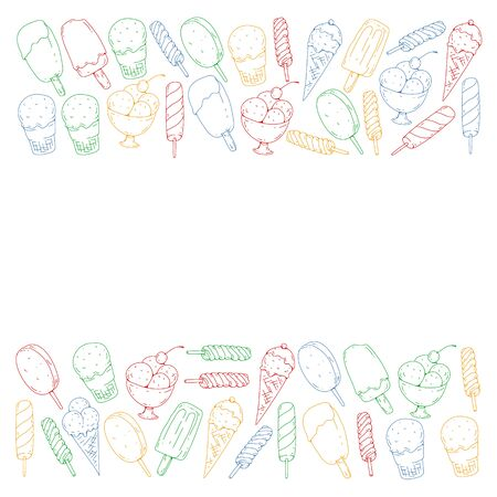 Collection of vector ice creams. Pattern for banners, posters Foto de archivo - 129438991