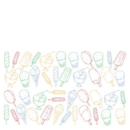 Collection of vector ice creams. Pattern for banners, posters Foto de archivo - 129439069