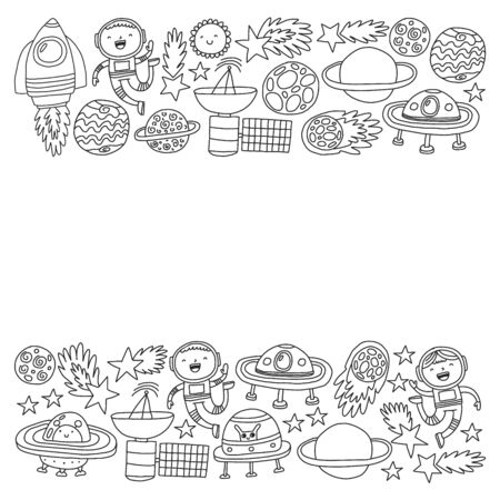 Space background doodle illustration. Vector illustration. Pattern with cartoon space rockets, planets, stars. Иллюстрация