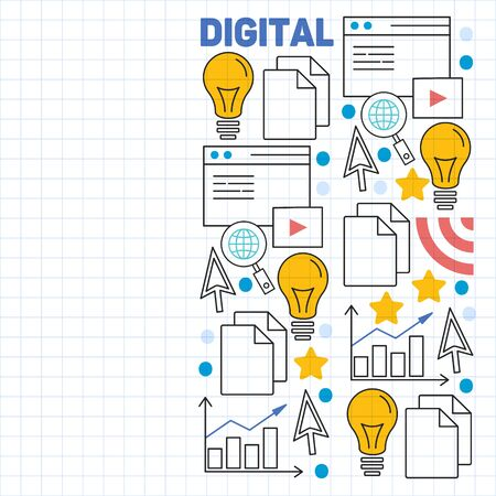 Digital marketing pattern with vector icons. Management, start up, business, internet technology.