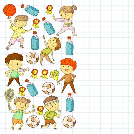Children and sport. Vector illustration of ac