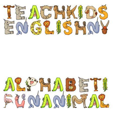 Animal alphabet. Zoo alphabet. Letters from A to Z. Cartoon cute animals. Elephant, dog, flamingo, giraffe horse alligator bear cat