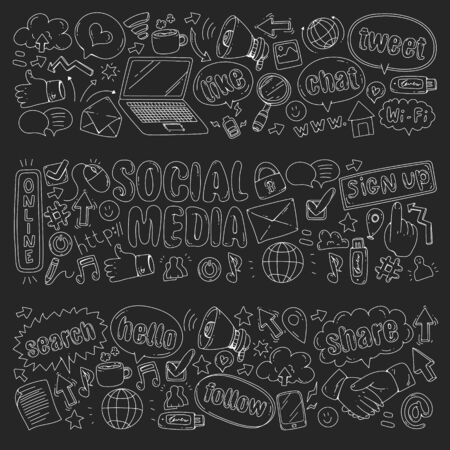Social media, business, management vector icons. Internet marketing, communications. Foto de archivo - 129439364