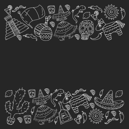 Travel to Mexico. Vector set with ethnic elemets for wallpapers, backgrounds