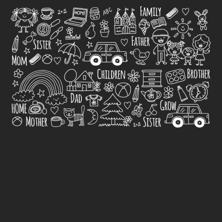 Pattern with family. Mother and father with little children and items for home. Boy and girl with parents