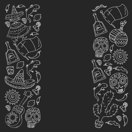 Travel to Mexico. Vector set with ethnic elemets for wallpapers, backgrounds. Day of the Dead  イラスト・ベクター素材