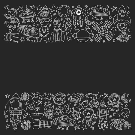 Vector pattern with little children in space. Earth, moon, spaceships, stars, comets, rockets, space shuttle, aliens, ufo.