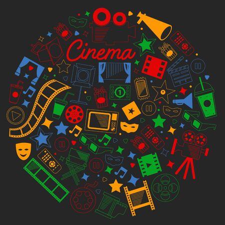 Modèle vectoriel avec des icônes de cinéma. Cinéma, télévision, pop-corn, clips vidéo, comédie musicale