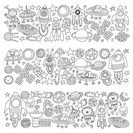 Vector pattern with space icons, planets, spaceships, stars, comets, rockets, space shuttle, flying saucers. Иллюстрация