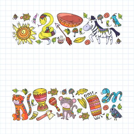 Vector african elements and animals for children clothing, fashion, t-shirts. Kids wallpaper with zebra, monkey, leopard, jaguar, bird, elephant