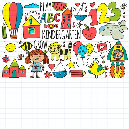 Vector pattern for kindergarten banners, posters with moon, planet, spaceship, rocket, sun, fruits, house, flowers. Creativity and imagination.