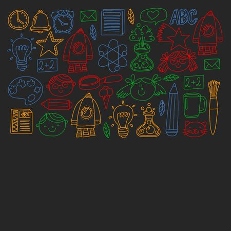 Vector pattern with back to school icons for posters, banners, covers