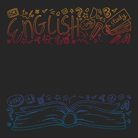 English courses. Doodle vector concept illustration of learning english language.