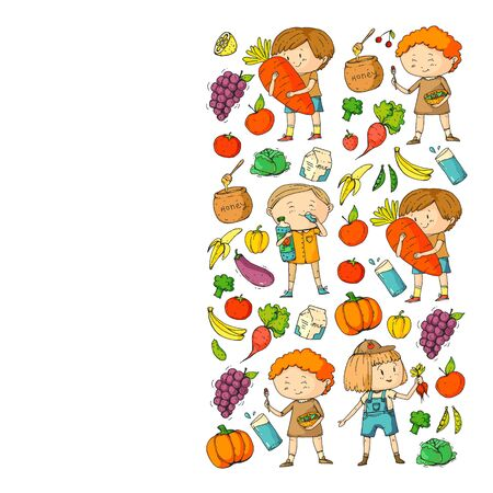 Children eating healthy food. Sport, fitness. Ilustracja