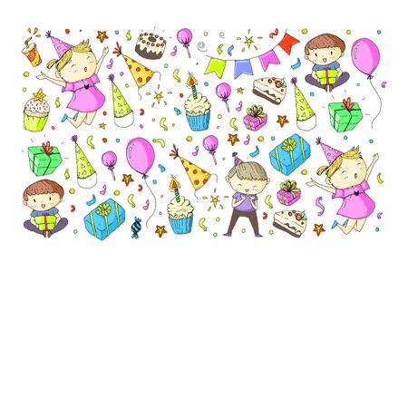 Happy boys and girls. Little kindergarten preschool children. Birthday party celebration. Icons for banners, posters, invitation