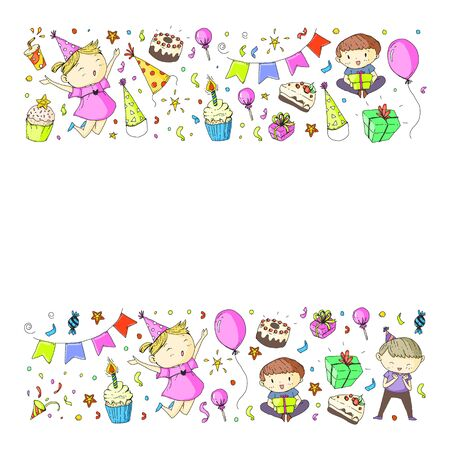 Happy boys and girls. Little kindergarten preschool children. Birthday party celebration. Icons for banners, posters, invitation.