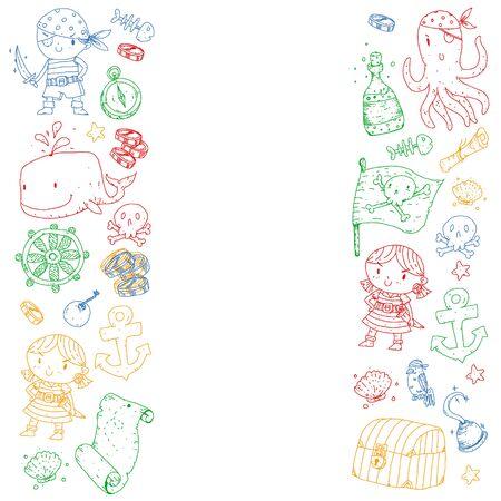 Festa dei pirati. Illustrazioni per bambini piccoli. Festa di compleanno per bambini con isola del tesoro, polpi, pirati