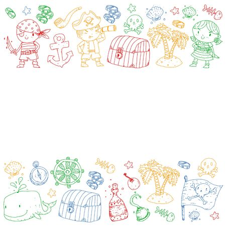 Pirate party. Illustrations for little children. Kids birthday celebration with treasure island, octopus, pirates
