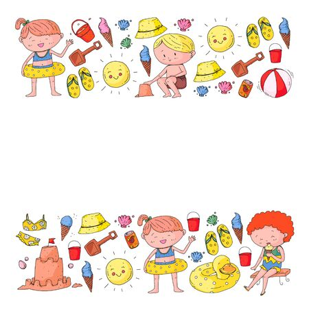 Children summer vacation. Holidays with little kids. Sea, beach and ocean