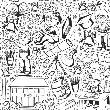 Vector pattern with little children. Back to school. Geography, geometry, mathematics, physics, chemistry, astronomy