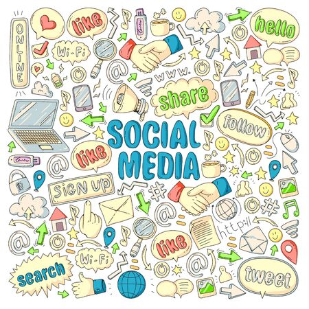 Social media, business, management vector icons. Internet marketing, communications.