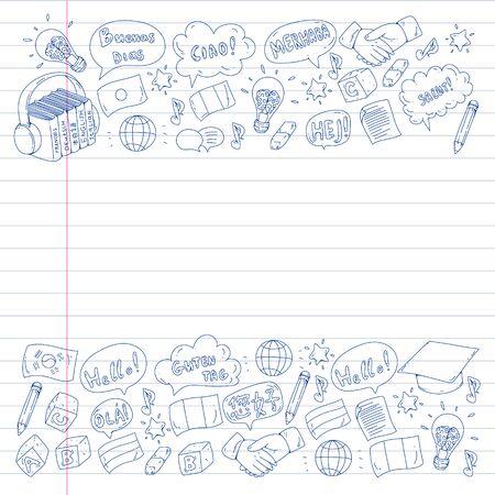 Vector pattern for language class, online courses. English, arabic, italian, japanese, spanish, chinese, german. Illustration