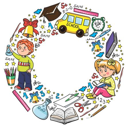 pattern with little children. Back to school. Geography, geometry, mathematics, physics, chemistry, astronomy