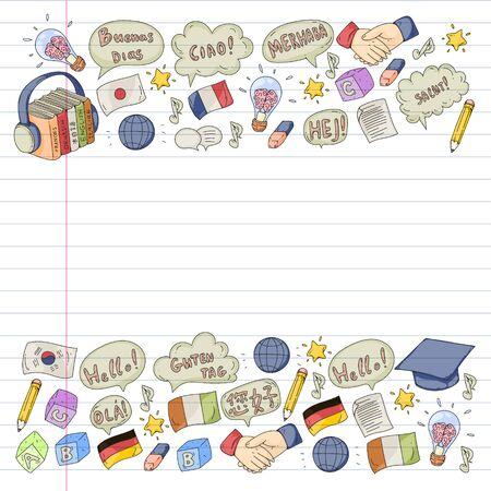 modèle pour cours de langue, cours en ligne. Anglais, arabe, italien, japonais, espagnol, chinois, allemand.