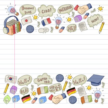 pattern for language class, online courses. English, arabic, italian, japanese, spanish, chinese, german. Illustration