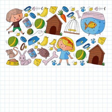 Pet shop illustration with animals, dog, cat, fish, Colorful background with kitten, bird, puppy. Veterinarian clinic. Vektoros illusztráció
