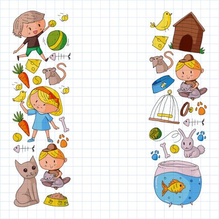 Pet shop illustration with animals, dog, cat, fish, Colorful background with kitten, bird, puppy. Veterinarian clinic.