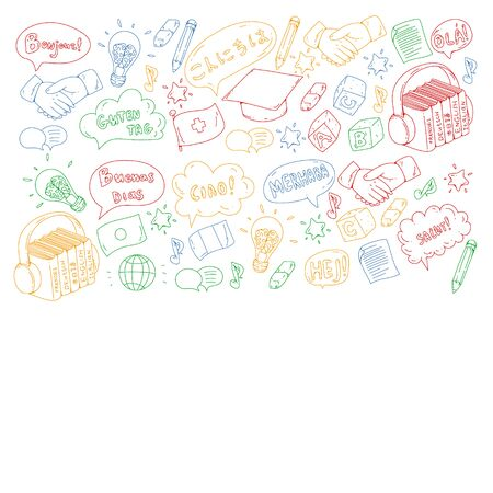 Vector pattern for language class, online courses. English, arabic, italian japanese spanish Иллюстрация