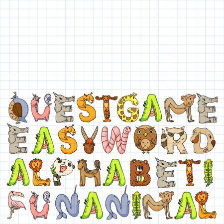 Animal alphabet. Zoo alphabet. Letters from A to Z. Cartoon cute animals. Иллюстрация