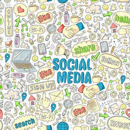 Social media, business, management icons Internet marketing communications