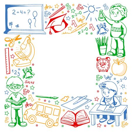 Vector pattern with little children. Back to school. Geography, geometry, mathematics physics