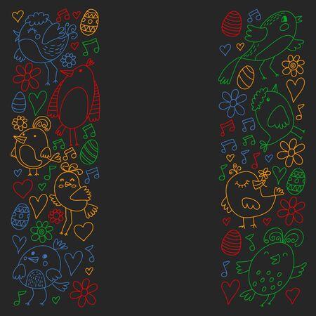 Pattern kids fabric, textile, nursery wallpaper Vector illustration