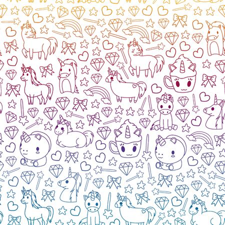 Children pattern with fairy tale unicors for kids clothes, posters, banners, shirts. Vector image with cartoon character