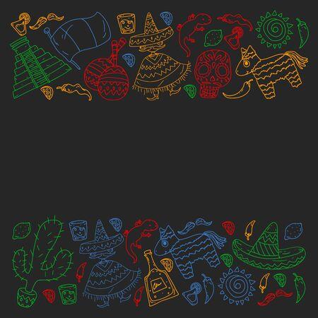 Viaja a México. Vector con elemets étnicos para fondos de pantalla, fondos