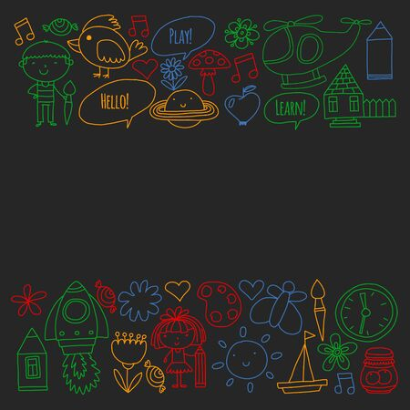 Vector pattern with little children. Kindergarten, play and grow together. Banque d'images - 130478883