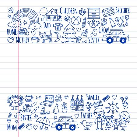 Pattern with family. Mother and father with little children and items for home.