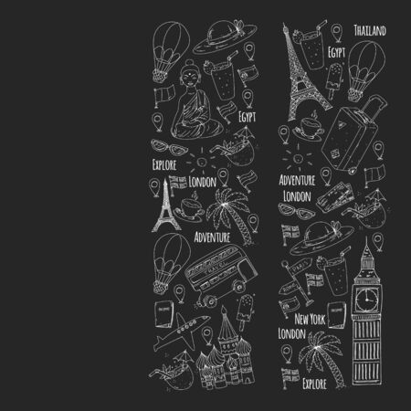 Vector pattern with travel icons. Great vacation, holidays. Hot air balloon, suitcase.