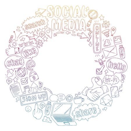 Social media, business, management icons Internet marketing communications