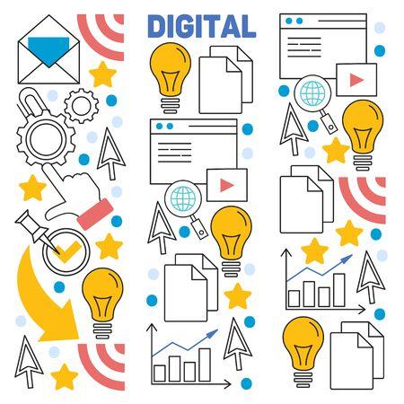 Hand drawn vector illustration background of digital marketing with doodles elements Stock Illustratie