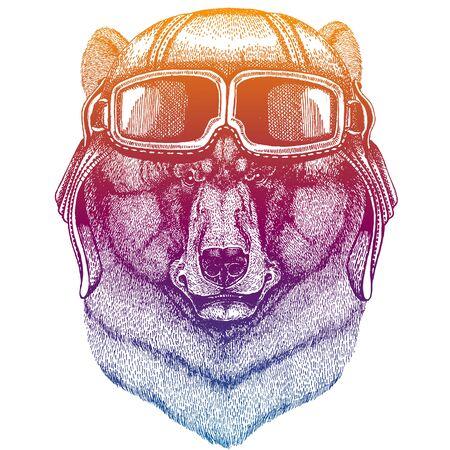 Animal wearing vintage aviator leather helmet. Image in retro style. Flying, motorcycle biker club emblem. Vector illustration, print for tee shirt, emblem, badge logo patch Illustration