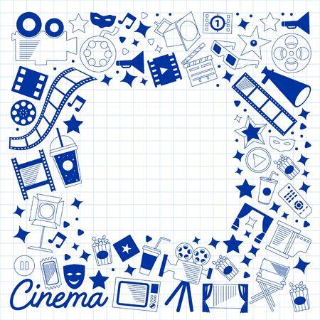 Modèle vectoriel avec des icônes de cinéma. Cinéma, TV, pop-corn, clips vidéo musicaux Vecteurs